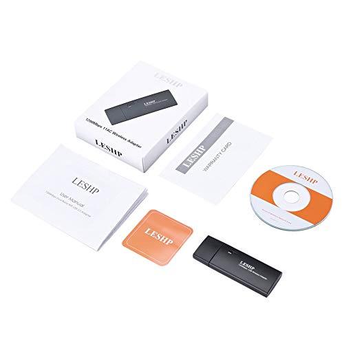 Bubbry Leshp 1200Mbps 11Ac Dualband USB 3.0 Wireless WiFi netwerkadapter zwart