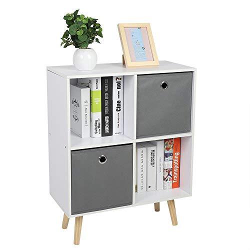 Boekenkast met voeten, 2 vakken en 2 manden, boekenkast, houten rek, opbergkast, boeken, kast, decoratie, speelgoed, 4 vakken, voor woonkamer, kantoor