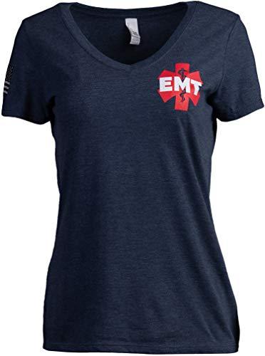 EMT AEMT Star Life | playera de emergencia médica para mujer con cuello en V, Azul marino, L
