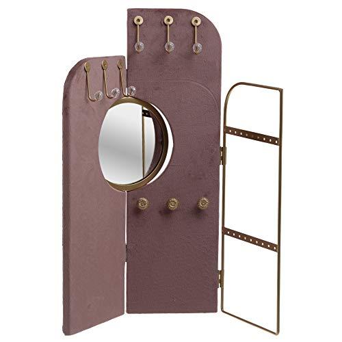 Inart - Soporte metálico de terciopelo para joyas (38 x B1 x 40 cm), color dorado y rosa