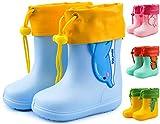 JACKSHIBO Gummistiefel Gefüttert Kinder Regenstiefel Junge Mädchen Regenschuhe Wasserdicht Kinderstiefel Stiefel, blau mit Gefüttert 23/24 EU