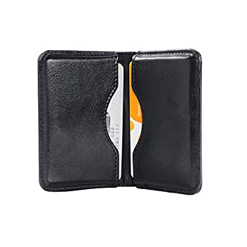 Business Card Holder Wisdompro 2-Sided PU Leather Folio Name Card Holder Wallet Case with Magnetic Shut for Men and Women Ultra Slim and Thin - Black