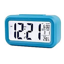 Little lemon 1Pcs Digital Alarm Clock Electronic Smart Mute Clock Backlight Display Temperature & Calendar Snooze Function Alarm Clock,Blue