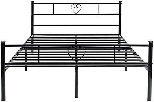 Es kann für Kinder oder Erwachsene Betten festen Rahmen Metallbett einen großen Stauraum,Black-Double bed H