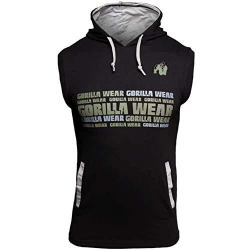 Gorilla Wear Melbourne S/L Hooded T-Shirt - Bodybuilding und Fitness Bekleidung für Herren, schwarz, M
