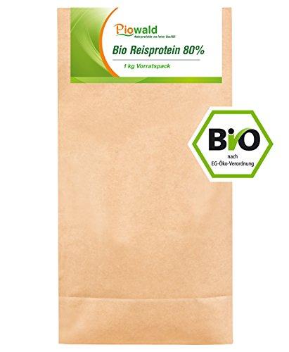 Piowald BIO Reisprotein - 1 kg Vorratspackung, EU-Herstellung, Pflanzliches Eiweißpulver, Vegan und Glutenfrei