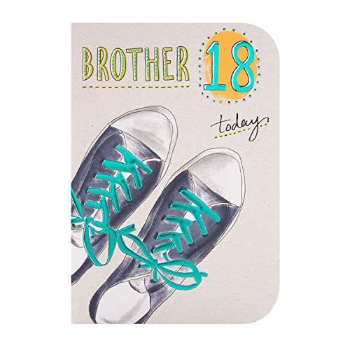 Hallmark - Tarjeta de felicitación de 18º cumpleaños para hermano, diseño de entrenador con detalles de lámina azul en relieve