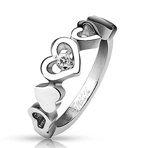 Bungsa 52 (16.6) Ring 5 Herzen Liebe Love mit Kristall Silber Edelstahl für Damen 49 52 54 57 (Frauen Fingerring Partnerringe Verlobungsringe Trauringe Damenring Edelstahlring Chirurgenstahl)