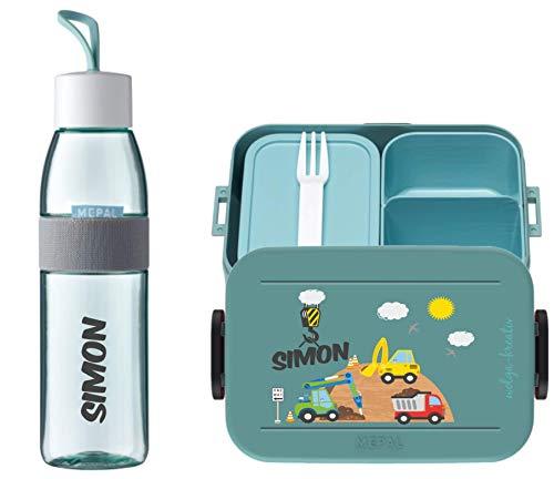 wolga-kreativ Brotdose Obsteinsatz Bento Box und Trinkflasche auslaufsicher BPA frei für Kinder Mepal Junge Baustelle personalisiert mit Namen Lunchbox Brotbox mit Fächern