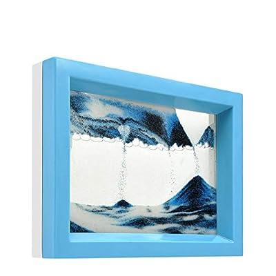 whimsyyy Dynamic Sand Picture Medium Desktop Art Toys Voted Best Gift!(Ocean Heart) - Black White Blue (Blue, Black,White,Blue)