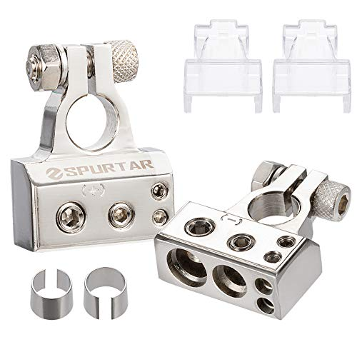 Spurtar 2PCS Battery Terminal Connector Kit 0/4/8/10 Gauge AWG Heavy Duty AMP Car Battery Terminal Clamp and Shims Positive & Negative with Clear Covers