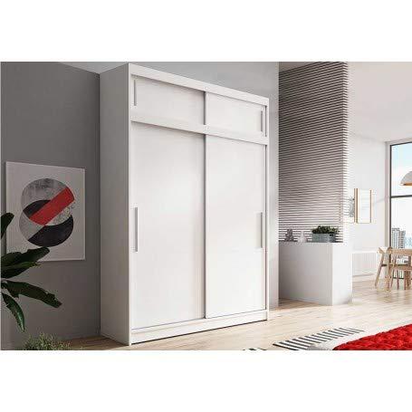 Kleiderschrank Schwebetürenschrank 2-türig Schrank mit zusätzlichen Stauraum (Schrankaufsatz) vielen Einlegeböden und Kleiderstange Gaderobe Schiebtüren BxHxT 150x245x61 - Lara 04 (Weiß + Weiß)