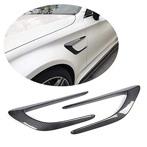 YMSHD La ventilación del Guardabarros Delantero se Adapta a Mercedes para Benz Clase C W205 C205 C63 Amg Coupe 2015-2018 Fibra de Carbono Real CF Paneles de alerón de Aire Lateral Pegatinas