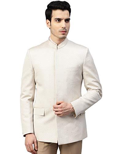 MANQ Men Beige Self-Design Slim Fit Bandhgala Blazer (Size: 34)