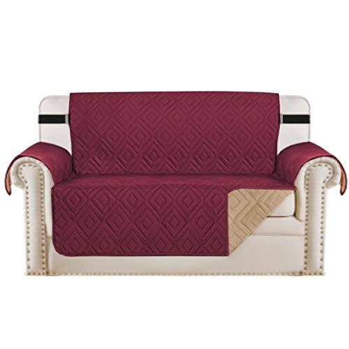 Reversible Loveseat Cover Furniture Protector Anti-Slip Water Resistant 2 Inch Wide Elastic Straps Couch Covers Pets Kids Fit Sitting Width Up to 46'(Love Seat, Burgundy/Beige)