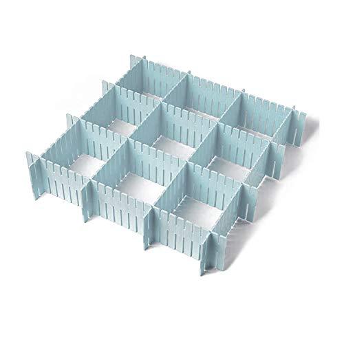 Divisores de cajón de plástico, 8 piezas, aparador cosmético de cocina, oficina, cajón, accesorios para ropa interior, herramientas de almacenamiento de utensilios (azul)