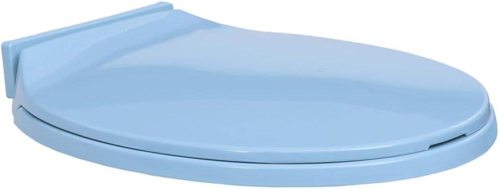 Azul, sin Desenganche R/ápido UnfadeMemory Asiento de Inodoro con Tapa Ovalada,Tapa con Asiento para V/áter,con Funci/ón de Cierre Suave,46x34cm