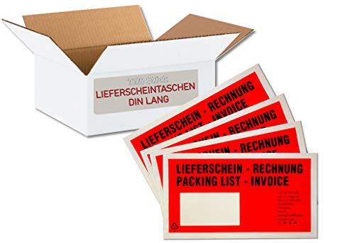 1 Karton = 1.000 Stück Lieferscheintaschen/Dokumententaschen - DIN LANG (ROT - Bedruckt: Lieferschein/Rechnung)