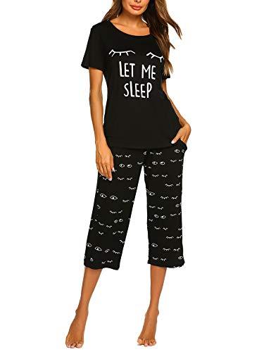 Balancora Damen Schlafanzug Baumwolle Weich und Atmungsaktiv V-Ausschnitt Tshirt Shorts mit Taschen Navyblau L