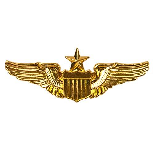 AUEAR, Metal Aviator Pin Military Wings Pin USAF Air Force Senior Pilot Wing Badge Gold