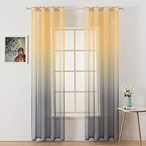 MIULEE 2er Set Farbverlauf Vorhang Voile Sheer Leinenvorhang Dekoschal mit Ösen transparent Gardine Schlaufenschal Ösenschals für Wohnzimmer und Schlafzimmer 140 X 225 cm (B x H) Gelb und Grau