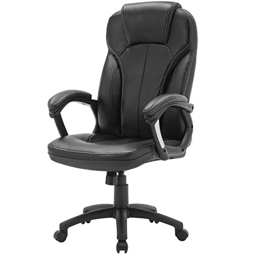 Kontorsbordsstol Ergonomisk Pu-Läsfåtölj I Läder, Svängbar Executive Skrivbordsstol Extra Vadderad Vilstol Racing Stil