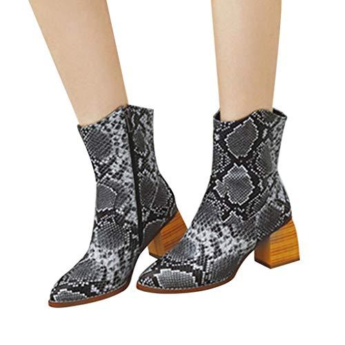 Fenverk Damen Stiefel Leder Plateau High Heel Schlupfstiefel Hoch Langschaftstiefel mit Blockabsatz Winter Schuhe Ankle Boots 6.5cm Gelb, Schwarz, Braun, Grau(Grau,36 EU)