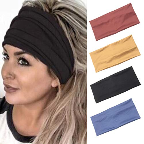 Sethain Boho Breit Stirnbänder Elastisch Bandeau Schwarz Dehnbar Bandana Stirnband Yoga Kopf Band Für Frauen und Mädchen (4 Stück)