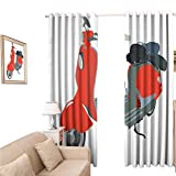 Shades Window Curtains, 1960sations Motor Scooter Doodle in Nice Sixties Style Driving Motorcycle Urban Cartoon Clipart, Blackout Curtain 84 Inch for Home Kitchen Room, 120x84 inch