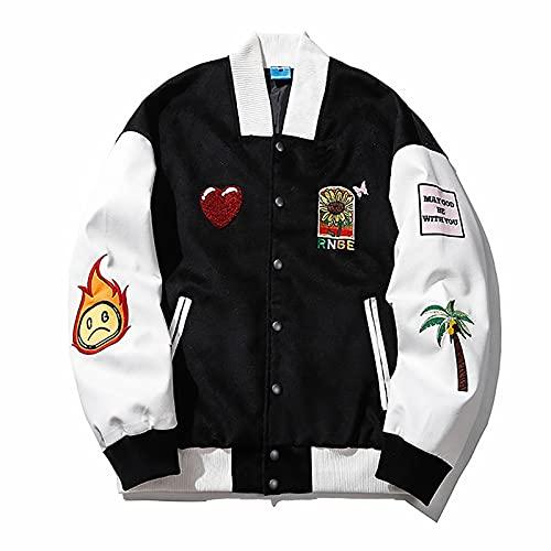 7HAHA3 Chaquetas de Hombre Terciopelo con Puntada de Cuero Prendas de Vestir High School Varsity Bordado Ropa Deportiva Letterman Bomber Coat,White,L(175cm70kg)