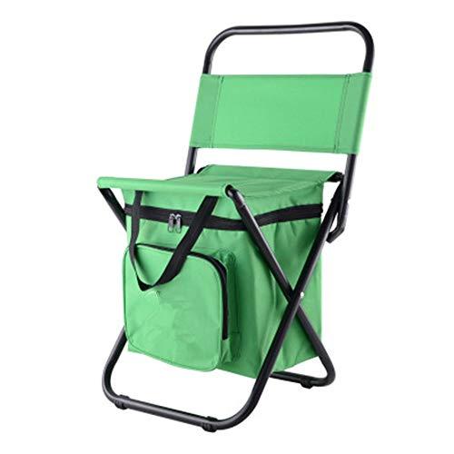 YBWEN Silla plegable portátil con bolsa de aislamiento de hielo para viajes, camping, senderismo, barbacoa, multifunción, plegable, para exteriores, color verde, tamaño libre