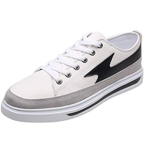 TOPKEAL Zapatos Blancos de Verano 2019 Transpirable Estudiantes Lienzo Calzado Sneaker Cómodos Conductor para Hombre 42