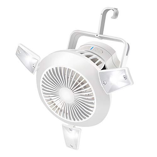 Camping Fan Rechargeable,Portable Tent Fan with Hanging Hook Solar Mini USB Battery Operated Personal Fan with Light Cooling Fan Led lantern Desk Fan