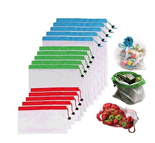 Xizfday 15 PCS Sacs de Courses Pliable Réutilisable Eco Lavable Sacs de Mailles pour Rangement Jouet Légumes Fruits