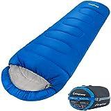 KingCamp Trek 3-4 Temporada Junior/Adultos Saco de Dormir de mamá Doble Capa cálido para Acampar Senderismo al Aire Libre (235 × 100 × 70 cm Adulto, Azul-L)