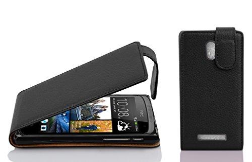 Cadorabo Hülle für HTC Desire 500 in Oxid SCHWARZ - Handyhülle im Flip Design aus Strukturiertem Kunstleder - Hülle Cover Schutzhülle Etui Tasche Book Klapp Style