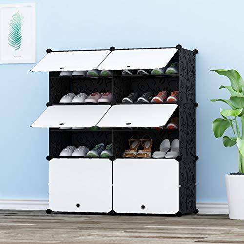 JOISCOPE Sostén de Almacenamiento portátil de Zapatos, Cubos de Armario modulares para Ahorrar Espacio, Cajas de Almacenamiento de Zapatos y Zapatillas, Negro y Blanco(2/5)