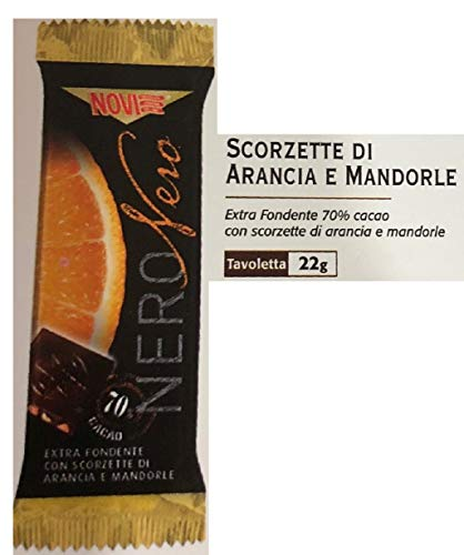 Novi Barrette Nero Nero Extra Fondente vari gusti 22 Gr - [confezione da 12] (EXTRA FOND.70% CON SCORZETTE DI ARANCIA E MANDORLE)