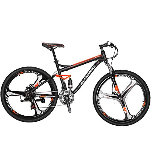 Full Suspension Mountain Bike 21 Speed Bicycle 27.5 inches Mens MTB Disc Brakes Orange (3 Spoke mag Wheels)