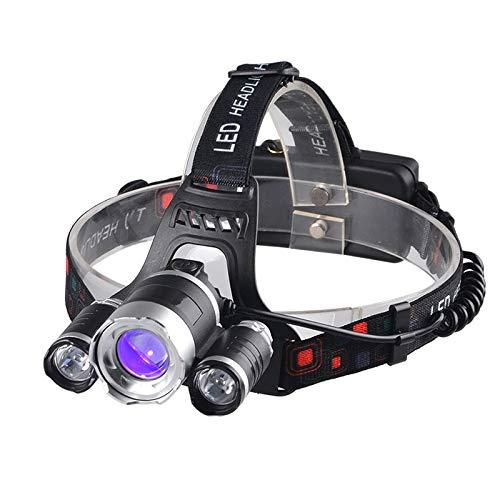 Linterna de cabeza multifuncional, luz LED CREE para pesca, ultravioleta, linterna frontal con zoom