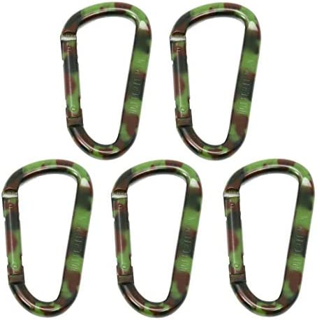 3 inch Aluminum Carabiner Spring Link D Clips 5 Pack with Camouflage Design 150 Lbs 68 kg Working product image