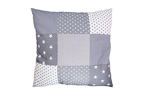 ULLENBOOM ® Patchwork Kissenbezug Graue Sterne (60x60 cm Kissenhülle, 100% Baumwolle, ideal als Dekokissen, Kinderzimmer Zierkissen, Motiv: Sterne)