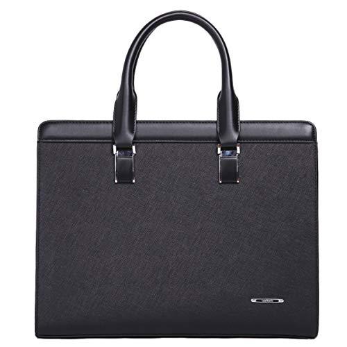 Leathario Ledertasche Aktentasche Laptoptasche Umhängetasche Arbeitstasche Businesstasche Messenger Bag Schwarz