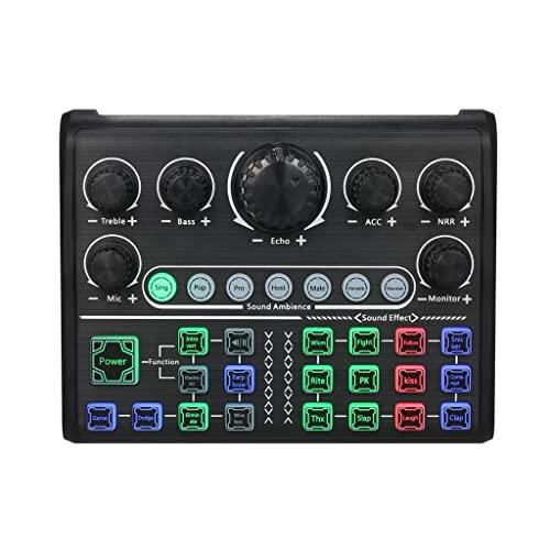 NXYJD Tarjeta de sonido en vivo Cambiador de voz externo Mezclador de audio Bt El tablero del mezclador de sonido con múltiples efectos de sonido admite la computadora Smartphone