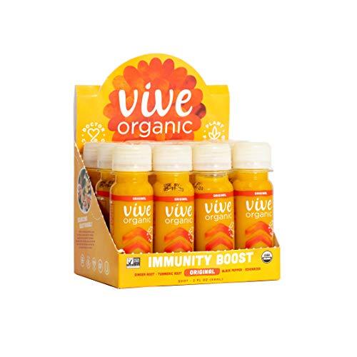 Immunity Boost Original (12 Pack) - by Vive Organic   The Ultimate Proactive Defense Combo   USDA Organic, Vegan, Cold Pressed, Ginger Root, Turmeric Root, Echinacea, Black Pepper