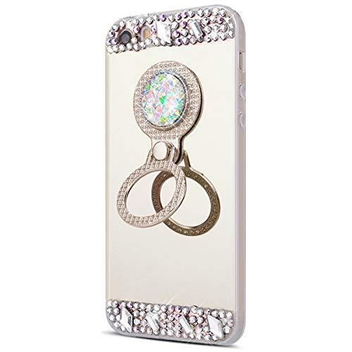 kompatibel mit iPhone 5S Hülle Spiegel,iPhone SE Schutzhülle,[Ring Ständer] Glänzend Glitzer Strass Diamant TPU Silikon Handy Hülle Tasche Silikon Handyhülle Tasche für iPhone SE/5/5S (Gold)