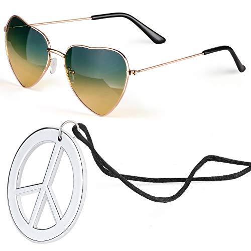 Beelittle Hippie Dressing Accessoireset Hartvormige zonnebril Dunne metalen frame Hartstijl en Peace Sign-ketting (Groen Oranje)