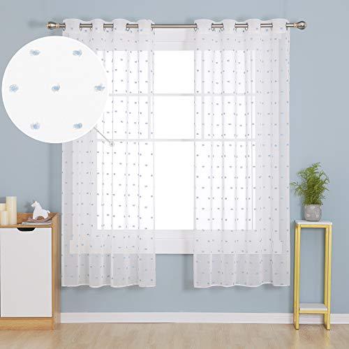Deconovo Visillos Traslúsidos Salón Infantiles Cortinas Cortas para Ventana Dormitorio Moderno para Habitacion Tul Suave 140x138cm Azul Cielo
