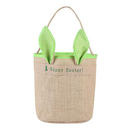 DQANIU Haus & Garten Osterhase Tasche, Home Decor Osterfest Karneval Dekorationen Kreative Osterei Eierkorb Urlaub Kaninchen Hase Bedruckte Leinwand Geschenk tragen Eier Candy Bag