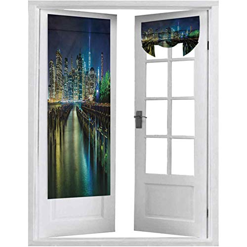 French Door Curtain, New York,Pier Pilings and Manhattan, 1 Panel-26' X 68' Rod Pocket Noise Reducing Single Door Panel